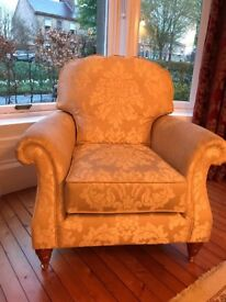3 piece sofa in gold fabric