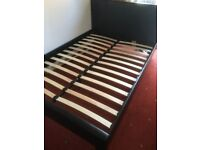 LEATHER DOUBLE BED WITH MATTRESS - BLACK