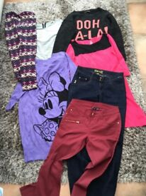 Ladies/Teens Size 10 Bundle with 1 size 8 silver top. 2 dresses, 2 prs jeans, leggings, jumper . all