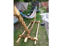 wood hammock, handcrafted, treated 2 coats linseed oil, 260/90 cm disassembled for collection