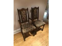Solid dark oak table and 8 chairs for sale