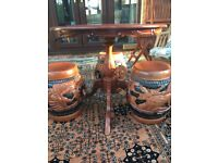 Occasional Table & Three Oriental Stools
