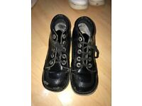 Black shiny kickers, kids size 13
