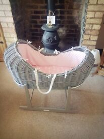 Wicker pod moses basket- Excellent condition! Was used for 4 nights No marks Stand included £60