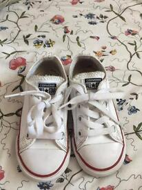 White leather converse Infant size 7