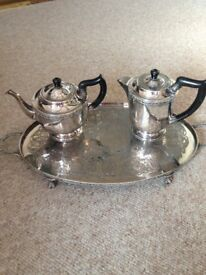 Silver Played Tray with Teapot and Coffee Pot