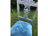 Chair silver blue upholstered recently