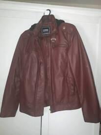 Women's faux leather hooded jacket