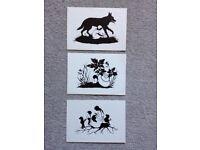 4th vintage 3 postcards silhouette Red Hood, Tom Thumb, Snow White