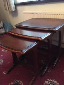 Mahogany set of 3 nest of tables