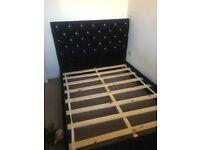 Crushed velvet black double bed frame