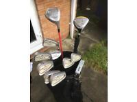 Golf clubs, golf bag, golf balls, golf shoes and umbrella