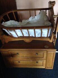 Solid pine cradle