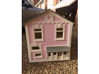 BIG WOODEN DOLLS HOUSE WITH FURNITURE & PEOPLE