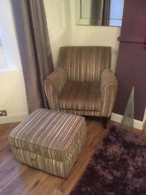 DFS leather 2 seater sofa and chair. Plus fabric chair and storage footstool