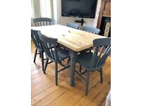*REDUCED* Beautiful refurbished pine farmhouse dining table and six chairs