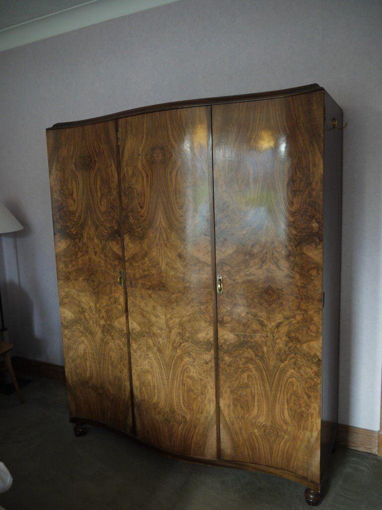 3 piece Walnut veneer wardrobe, dressing table and cupboard