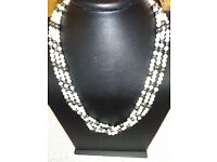 NEW ITALIAN DESIGNER, LADIES SET OF NECKLACE AND PEARLS , AND FINISHED WITH GOLD CLASPS,