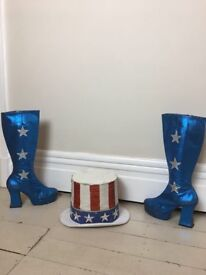 Vintage glam rock Stars and Stripes boots & top hat