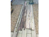 Various wood lengths and sizes, roof lats, fence posts, gutter board