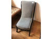 Vintage low slipper style nursing chair . Size - W 42cm D 42cm SH 33cm FH 73cm