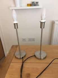 Two silver lamp bases