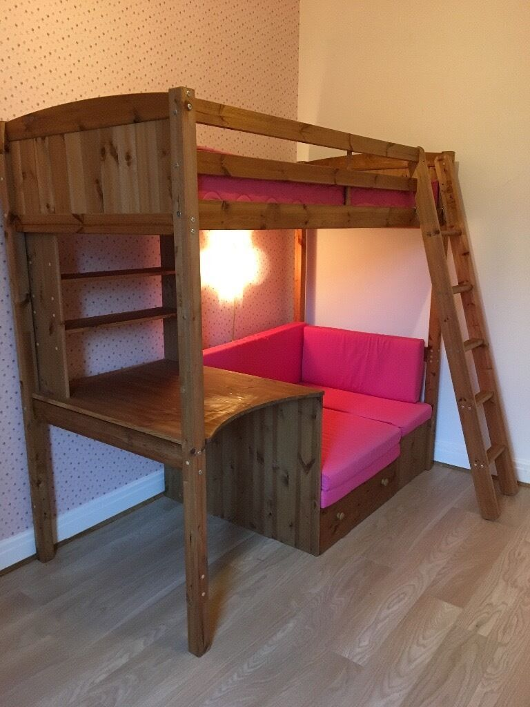 Pine High Sleeper A Desk Underneath And Couch Sofa Bed With Pink