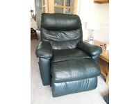 Reclining Dark Green Leather Arm Chair