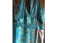 Coast turquoise/bronze floral halter neck evening dress (size 14)