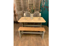 Lovely shabby chic style pine dining table 2 chairs and bench – safe doorstep delivery