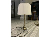 Laura Ashley brass table lamp and cream shade.