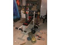 GYM EQUIPMENT - ADJUSTABLE BENCH PRESS, SQUAT STAND, BARBELL, DUMBELLS AND WEIGHTS UP TO 85KG