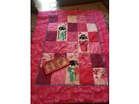 Reversable quilted throw with matching picture frame