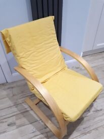 Yellow fabric chair in excellent condition.