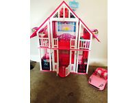 Barbie house, furniture and car