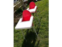 2 x red ikea high chairs with tables. £10 for 1 £15 for the pair