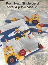 Children's digger single bedding with pillowcase