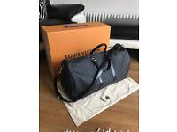 Louis Vuitton Damier Graphite Keepall 55 with Dust Bag and Box.