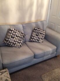 Two & three setter settees for sale. Denim blue hard warring fabric