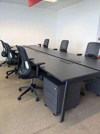 FREE SAME-DAY DELIVERY - 4, 6, 8 Person Back 2 Back Office Bench Desks, Black-Brown