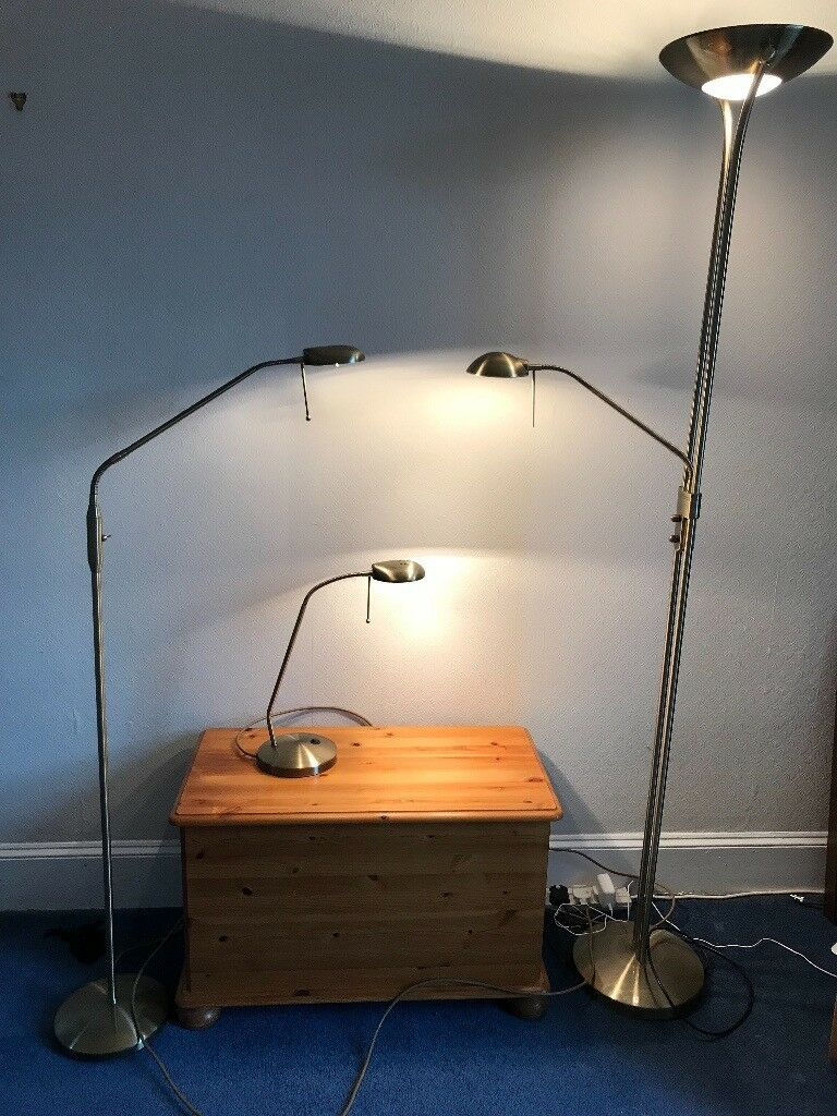 3 Lamps Two Floor Standing One With Up Lighter Desk Lamp