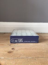 Country Baskets Clear Nightlights, Pack of 50, White - Tea Lights (Brand New Unopened)
