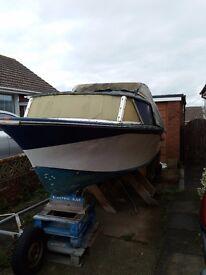 18 foot cabin cruiser fishing boat hull free to good home
