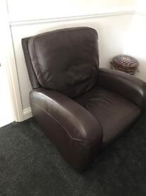 Dansk 3 seater brown leather sofa and rocking recliner chair.