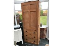 Antique pine linen press / wardrobe - good condition