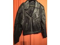 BIKER JACKET IN SOFT LEATHER ORIGINAL AMAZING CONDITIONS, ONLY £50!!! SIZE XL-XXL