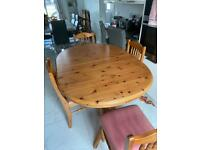 Solid pine extending dining set - very heavy