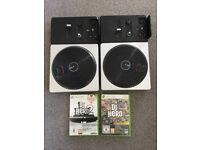 Xbox 360 DJ hero 1 & 2 plus 2 turntable controllers