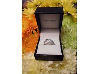 engagement ring aquamarine stones on white gold ring