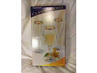 NEW!! 6 Rayware Classic Gold Collection 20cl Sparkling Wine Flutes- Decoraction Approx 10% Real Gold